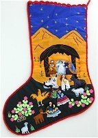 Nativity Stocking Gold Mountains